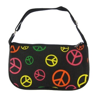 Multicolor Peace Sign Nylon Mini Purse Handbag