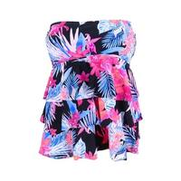 Island Escape Women's Montage Gardens Tiered Tankini Top - Coral Floral