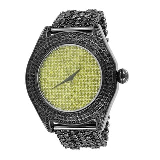 Canary Dial Watch Black Iced Out Lab Diamonds Iced Tray