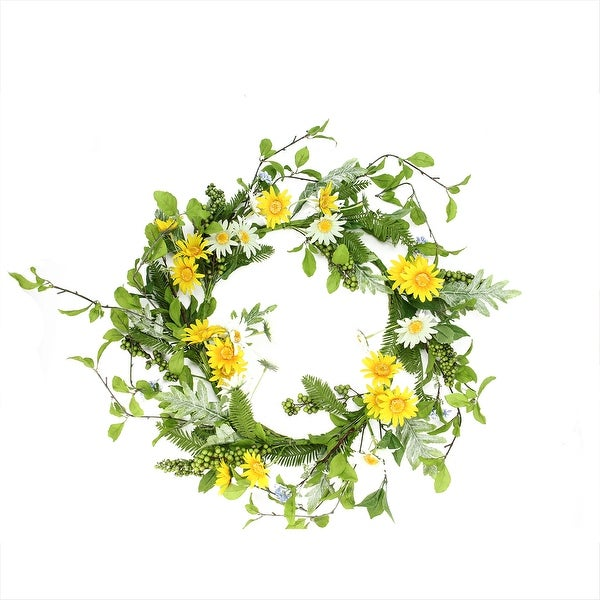 White and Yellow Field Daisy, Blossom and Berry Artificial Floral Wreath - 24 Inch Unlit - N/A