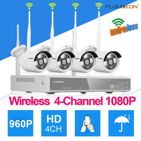 4CH Wireless CCTV 1080P DVR Kit Outdoor Wifi WLAN 1.3MP 960P IP Camera Security Video Recorder NVR System