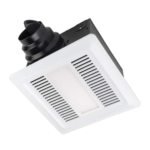 Miseno MBF080L 80 CFM Ultra Quiet 0.3 Sones Energy Star and HVI Certified Exhaust Fan with LED Lighting - White