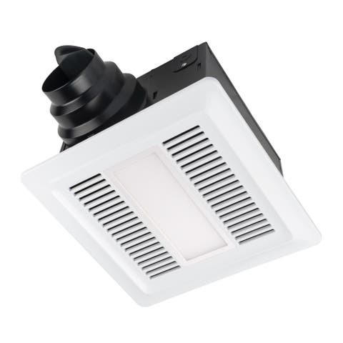 Miseno MBF100L 110 CFM Ultra Quiet 0.7 Sones Energy Star and HVI Certified Exhaust Fan with LED Lighting - White