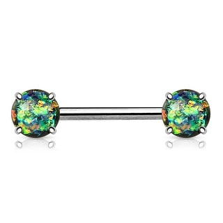 Prong Glitter Opal Front Facing Surgical Steel Nipple Barbell - 14GA (Sold Ind.)