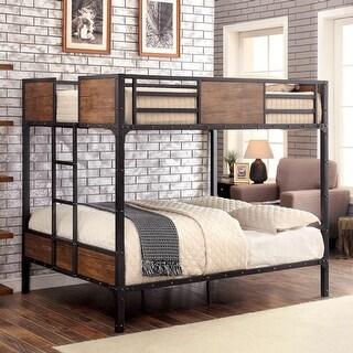 Furniture of America Jown Industrial Black Metal Bunk Bed