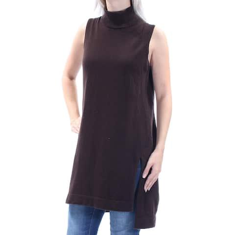 ALFANI Womens Brown Slitted Sleeveless Turtle Neck Hi-Lo Sweater Size: S