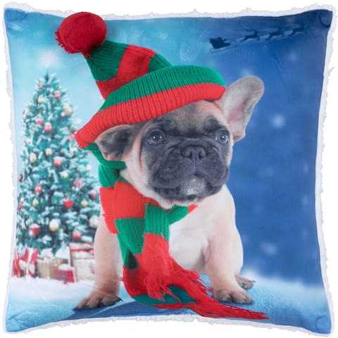 Cushion Xmas Sherpa Reversible Elf Puppy