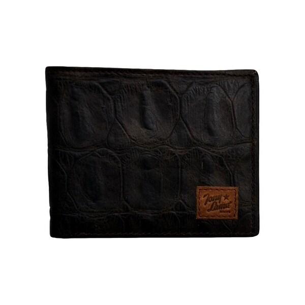 "Tony Lama Western Wallet Mens Bifold Leather Slots Dark Brown - 3 1/2"" x 4 1/4"""