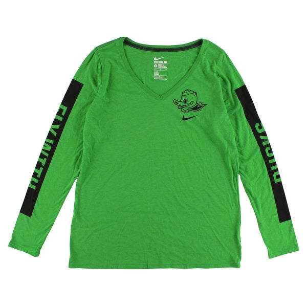 c019737e Nike Womens Oregon Ducks Long Sleeve Modern T Shirt Apple Green - Apple  Green/Black