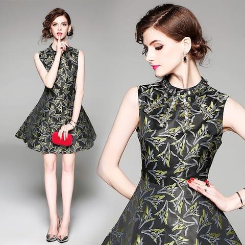 A Sleeveless Waistcoat Jacquard Dress