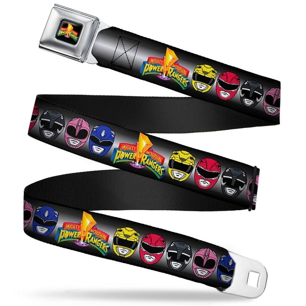 Power Rangers Logo Full Color Power Rangers Faces W Mmpr Logo Webbing Seatbelt Belt