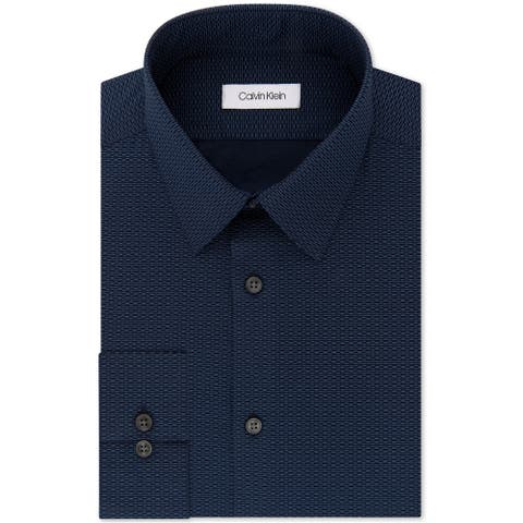 "Calvin Klein Mens Slim Fit Stretch Button Up Dress Shirt, blue, 16.5"" Neck 34""-35"" Sleeve"