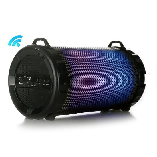 Portable Bluetooth Stereo - Boombox Radio System, Built-in Rechargeable Battery, Flashing DJ Lights, MP3/USB/Micro SD/FM Radio