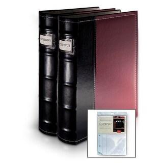 Bellagio-Italia Burgundy CD/DVD Binders 2 Pack with Bonus Insert Sheets