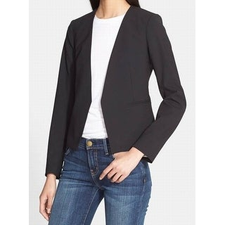 Theory NEW Black Womens Size 10 Open-Front Collarless Wool Blazer