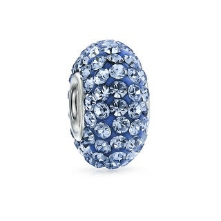 Bling Jewelry Sterling Silver Imitation Blue Topaz Crystal Bead Charm