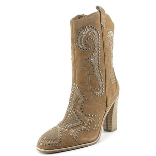 Donald J Pliner Olivia SPOL Women Pointed Toe Suede Tan Mid Calf Boot