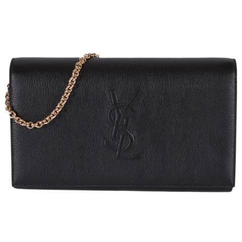 Saint Laurent YSL Black Leather Belle de Jour Crossbody Wallet Purse Bag