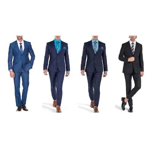 Porto Filo Men's 2 Piece Slim Fit Suit (Black ,Navy, Royal Blue, Indigo, Burgundy)