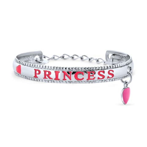 Pink Princess Heart Charm Bangle Cuff Bracelet 925 Sterling Silver