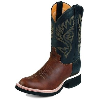 Justin Western Boots Mens Leather Round Westerner Coffee Black 5008