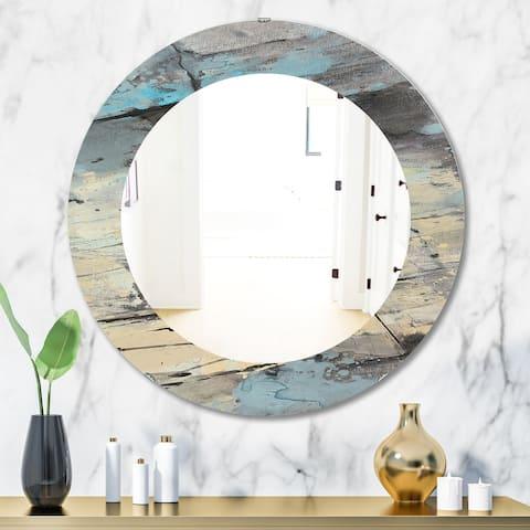 Designart 'Rock Teal Panel II' Modern Mirror - Frameless Oval or Round Wall Mirror - Multi