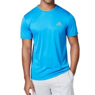 Adidas NEW Blue Gray Mens Size Large L Performance Tech Climalite Shirt