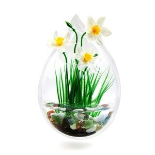 "Acrylic Drop Shaped Wall Mounted Hanging Fishbowl Plant Bowl 7.9"" High/0.5Gallon"