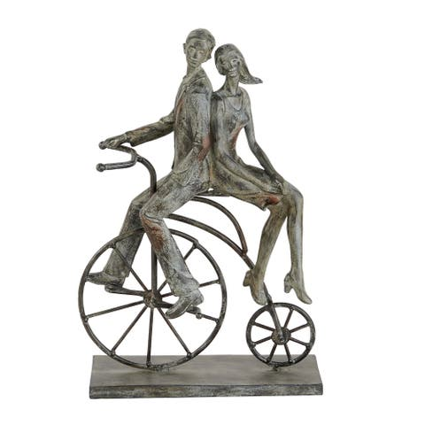 """Polystone Distressed Metal Couple On Bicycle Sculpture, 9"""" X 14"""" - 9 x 5 x 13"""