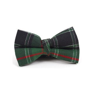 Boy's Holiday Green & Red Plaid Adjustable Band Bow Tie - One size