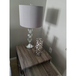 Safavieh Lighting 27-inch Keeva Clear Stacked Crystal Orbs with Grey Shade Table Lamp (Set of 2) - N/A