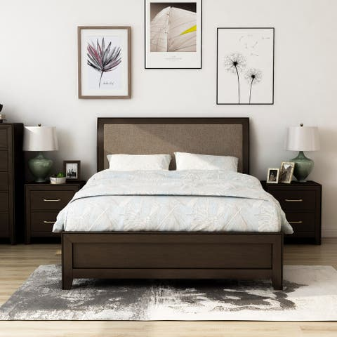 Furniture of America Yra Walnut 3-piece Bedroom Set with 2 Nightstands