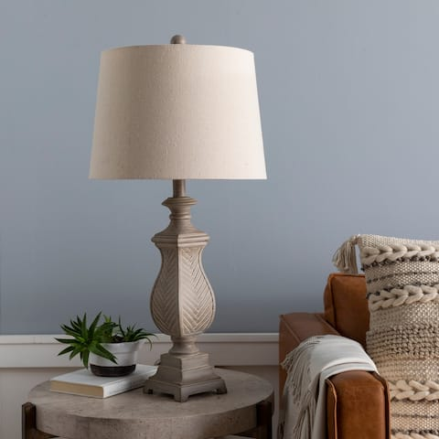 """Drue Textured Traditional 28-inch Table Lamp - 28""""H x 14""""W x 14""""D"""