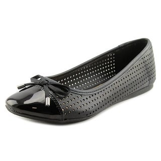 New Directions Melrose Women Round Toe Leather Black Ballet Flats