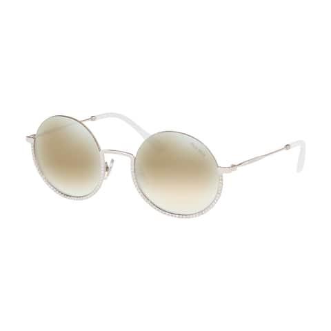 Miu Miu MU 69US 1BC168 52 Silver Woman Round Sunglasses