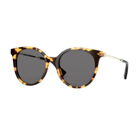 Valentino VA4069 503687 53 Yellow Havana Woman Round Sunglasses