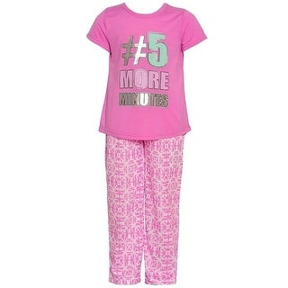 "Little Girls Pink ""5 More Minutes"" Glitter Print Hi-Low 2 Pc Pajamas Set"