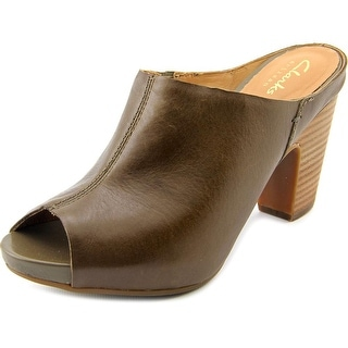 Clarks Okena Chic Women Peep-Toe Leather Brown Mules