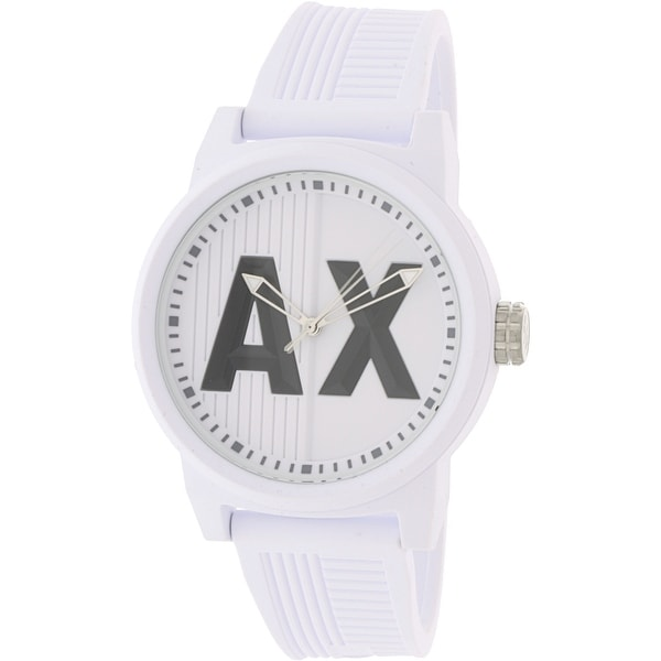 4b82e7acf Shop Armani Exchange Men's Atlc White Silicone Japanese Quartz Fashion Watch  - Free Shipping Today - Overstock - 18618505