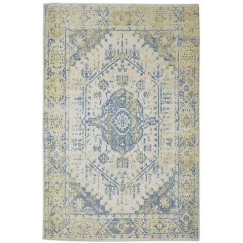 """One of a Kind Hand-Knotted Persian 6' x 9' Abstract Wool Ivory Rug - 5'10""""x8'11"""""""