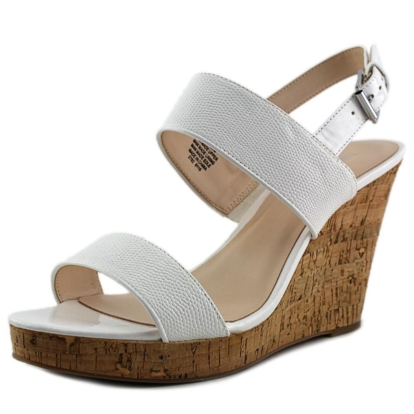 Nine West Lucini Women Open Toe Synthetic White Wedge Sandal