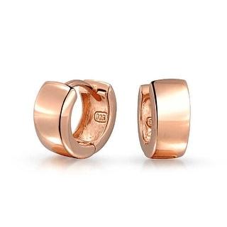 Bling Jewelry Sterling Silver Wide Rose Gold Plated Small Hoop Hoop Earrings - Pink