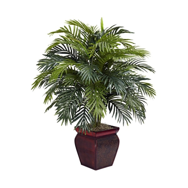 Nearly Natural Areca with Decorative Planter - Silk Plant Green