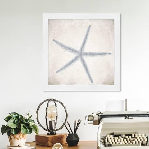 Oliver Gal 'Starfish Grey' Nautical and Coastal Wall Art Framed Print Marine Life - Blue, White