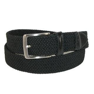 Dockers Men's Big & Tall Elastic Braided Belt with Leather Tabs - Khaki