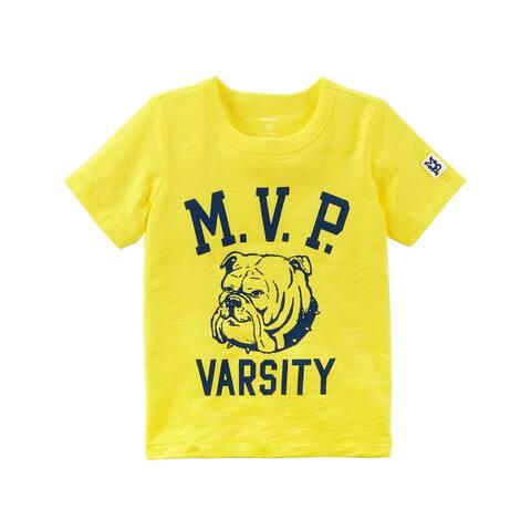 Carter's Little Boys' Varsity Slub Jersey Tee, Yellow, 3-Toddler