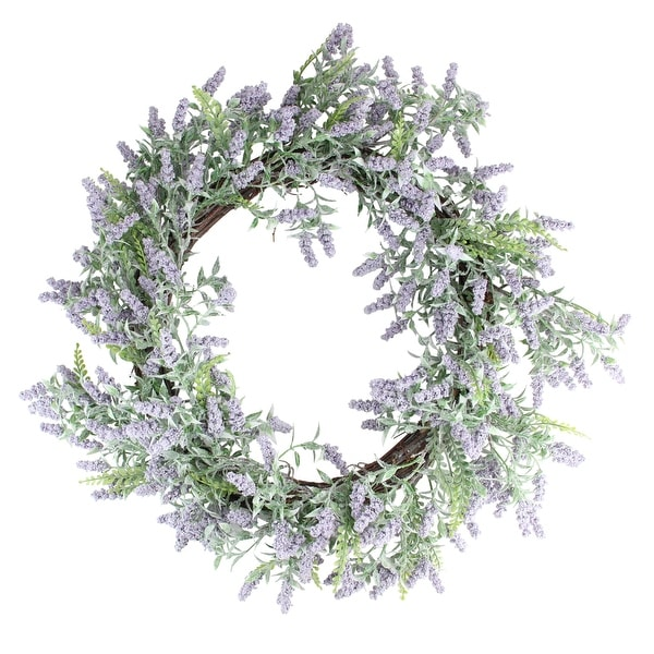 Lavender Artificial Spring Floral Wreath, Purple and Green 22-Inch - N/A