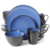 Gibson 107136.16 Home Elite Bella Galleria 16 Piece Blue Dinnerware Set