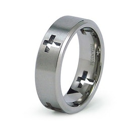 7mm Titanium Ring with Cut Out Crosses (Sizes 8-12)