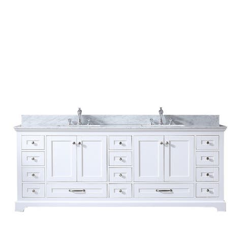 "Dukes 84"" Double Vanity, Carrara Marble Top, Square Sink, no Mirror"